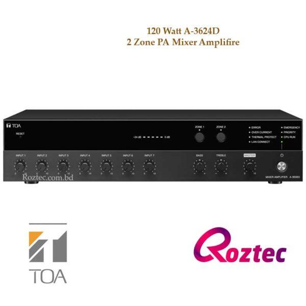 Toa A-3624D Mixer Amplifier With 2 Zone Selector